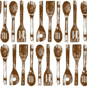 Brown Cooking Spoon Rows // Large