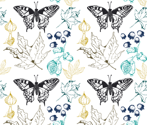 leaves  white fabric by fat_bird_designs on Spoonflower - custom fabric