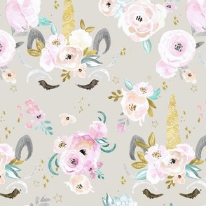 unicorn floral M gray