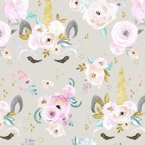 unicorn floral M gray