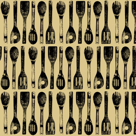 Cooking Spoon Rows on Tan // Small fabric by thinlinetextiles on Spoonflower - custom fabric