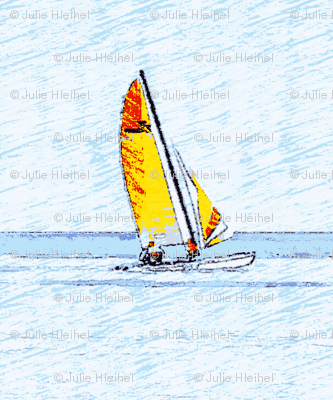 yellow and red Sailboats on navy waters-ch-ch
