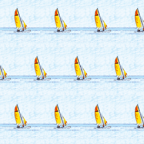 yellow and red Sailboats on navy waters-ch-ch fabric by crafters_b_crazy on Spoonflower - custom fabric