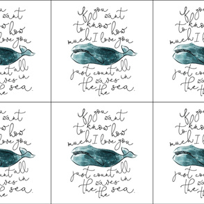 6 loveys: whale // if you want to know how much I love you // teal