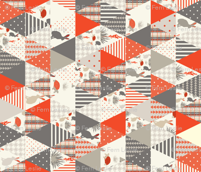Tortoise & Hare - Red - triangle cheater quilt, whole cloth quilt,