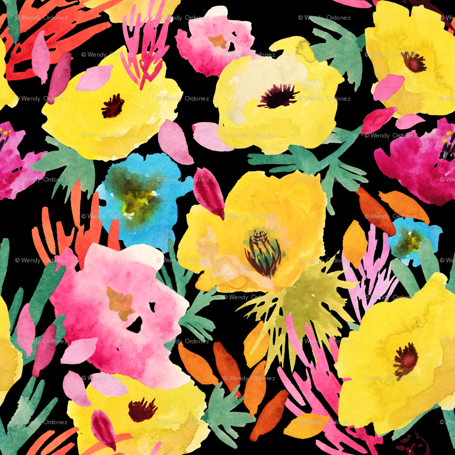 Composition With Yellow Poppies On Black Fabric Wxstudio Spoonflower