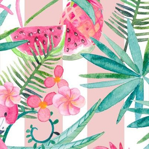 Tropical Summer on Pink and White Stripes