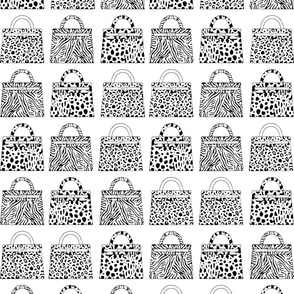 white graphic bags