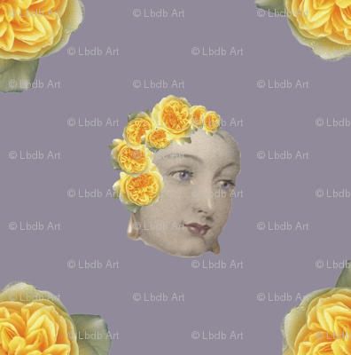Victorian Woman with Yellow roses
