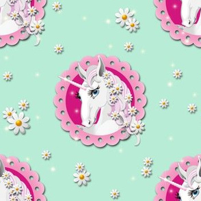 Cool Unicorn Pattern with daisies in Mint
