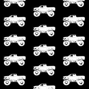 """2"""" Monster Trucks on Black"""