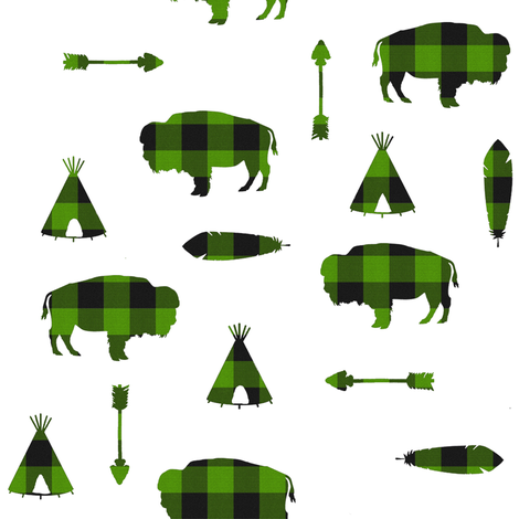 Buffalo Tribe // Green Check // Small fabric by thinlinetextiles on Spoonflower - custom fabric