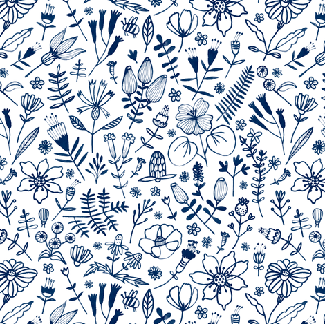 blue flowers fabric by wideeyedtree on Spoonflower - custom fabric