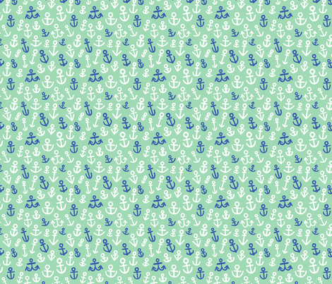Anchors, Mint and Navy (Medium Size) fabric by thispapership on Spoonflower - custom fabric