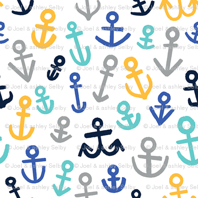 Anchors, Mustard and Blues (Medium Size)