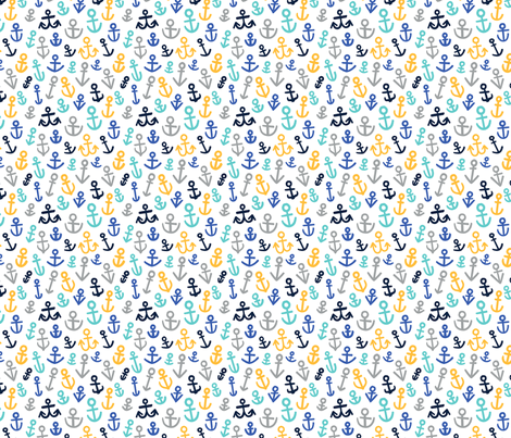 Anchors, Mustard and Blues (Medium Size) fabric by thispapership on Spoonflower - custom fabric