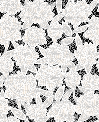 Ivory Lace Flowers on Black