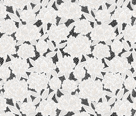 Ivory Lace Flowers on Black fabric by pond_ripple on Spoonflower - custom fabric
