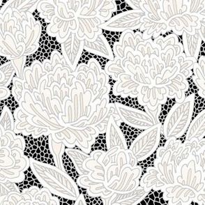 Ivory Lace Flowers on Black