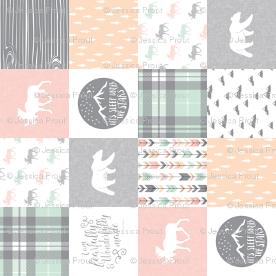 """(3"""" small scale) Pink , Mint, Grey,  Peach Fearfully and Wonderfully Made - Patchwork woodland quilt top (90)"""