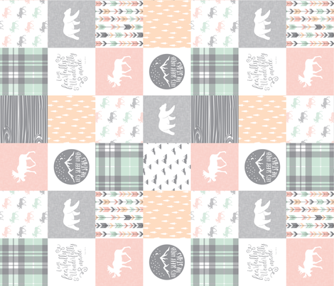 """(3"""" small scale) Pink , Mint, Grey,  Peach Fearfully and Wonderfully Made - Patchwork woodland quilt top (90)  fabric by littlearrowdesign on Spoonflower - custom fabric"""