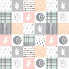 "(3"" small scale) Pink , Mint, Grey,  Peach Fearfully and Wonderfully Made - Patchwork woodland quilt top (90)"