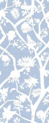 Silhouette Peony Branch- cornflower blue