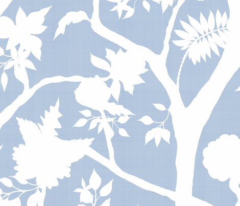 Silhouette Peony Branch- cornflower blue fabric by danika_herrick on Spoonflower - custom fabric