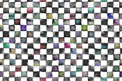"""small watercolor checkerboard, 1/2"""" squares - black, white and multicolor"""
