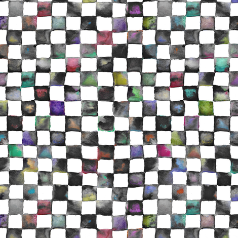 "small watercolor checkerboard, 1/2"" squares - black, white and multicolor fabric by weavingmajor on Spoonflower - custom fabric"