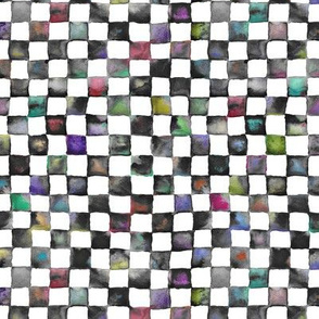 "small watercolor checkerboard, 1/2"" squares - black, white and multicolor"