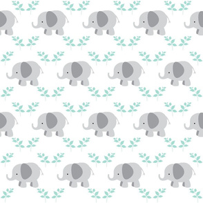 Elephants in A Row SMALL 45  - Gray/mint leaves