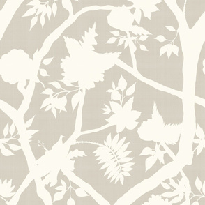 Silhouette Peony Branch- Cream on Putty