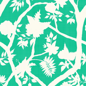 Silhouette Peony Branch Mural- Verde