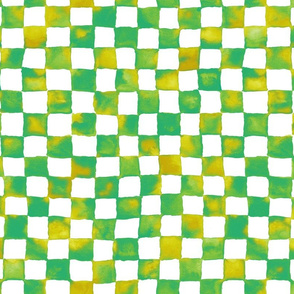 watercolor checkerboard - lime, aqua, chartreuse, yellow ochre