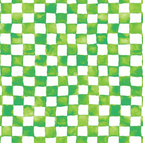 watercolor checkerboard - lime, green and white