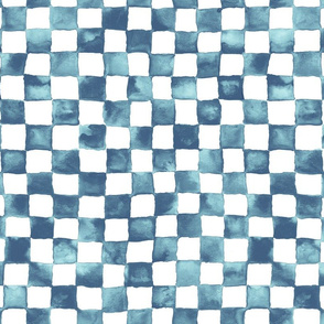 "watercolor checkerboard 1"" squares - navy, light blue and white"