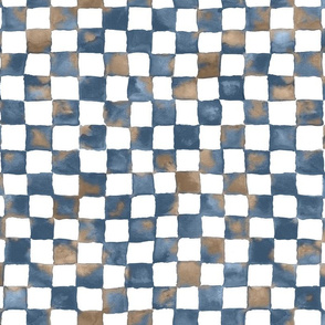 "watercolor checkerboard 1"" squares - denim blue, mocha and white"