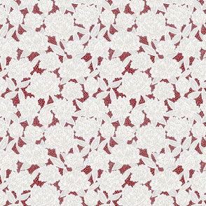Ivory Lace Flowers on Red