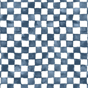 "watercolor checkerboard 1"" squares - denim blue and white"