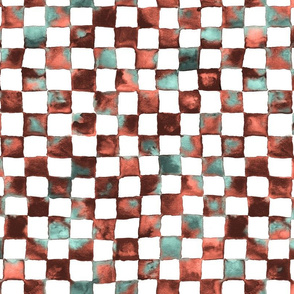 "watercolor checkerboard 1"" squares - black, coral, mint, white"