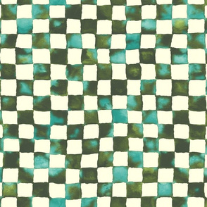 watercolor checkerboard - olive and teal