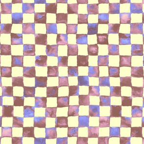 "watercolor checkerboard 1"" squares - brown, pink, blue, cream"