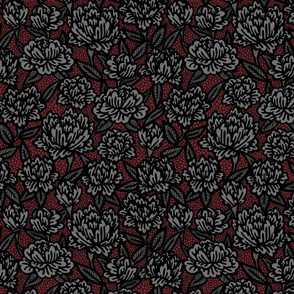 Black Lace Flowers on Red