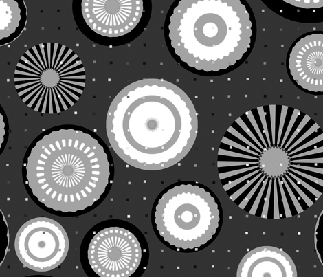 Monochrome Circles fabric by dejareve on Spoonflower - custom fabric