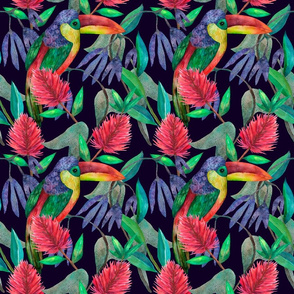 Exotic colorful floral watercolor seamless pattern