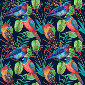 Colorful floral seamless background with birds