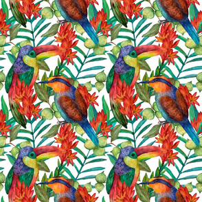Colorful floral pattern with tropical flowers and birds on white