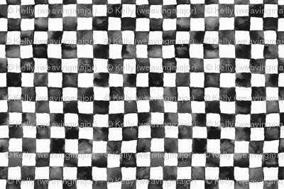 "watercolor checkerboard 1"" squares - black and white"