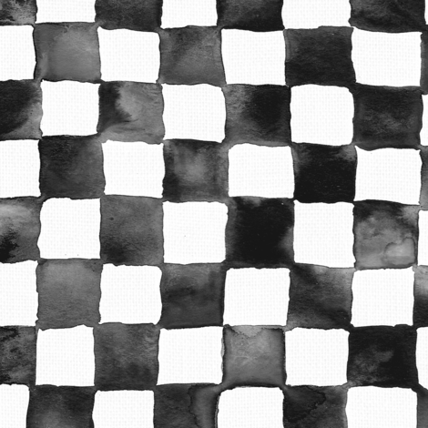 """watercolor checkerboard 1"""" squares - black and white fabric by weavingmajor on Spoonflower - custom fabric"""